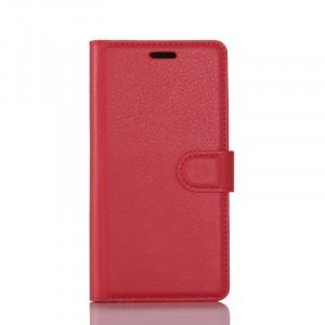 Чехол портмоне подставка на силиконовой основе с отсеком для карт на магнитной защелке для Lenovo Phab 2 Plus  Красный