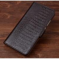 Кожаный чехол портмоне подставка (премиум нат. кожа крокодила) с крепежной застежкой для Lenovo Phab 2 Pro  Коричневый