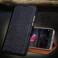 Кожаный чехол портмоне подставка (премиум нат. кожа крокодила) с крепежной застежкой для Lenovo Phab 2 Pro