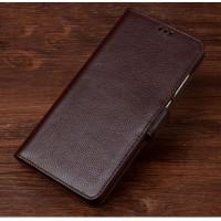 Кожаный чехол портмоне подставка (премиум нат. кожа) с крепежной застежкой для Lenovo Phab 2 Pro Коричневый