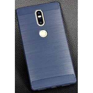 Силиконовый матовый непрозрачный чехол с текстурным покрытием Металлик для Lenovo Phab 2 Plus Синий