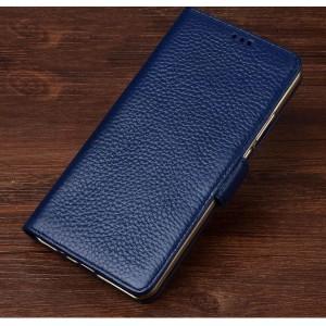 Кожаный чехол портмоне подставка (премиум нат. кожа) с крепежной застежкой для Lenovo Phab 2 Plus  Синий