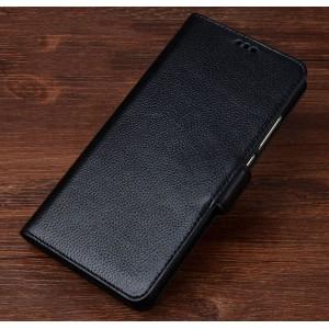 Кожаный чехол портмоне подставка (премиум нат. кожа) с крепежной застежкой для Lenovo Phab 2 Plus  Черный