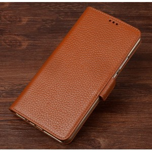 Кожаный чехол портмоне подставка (премиум нат. кожа) с крепежной застежкой для Lenovo Phab 2 Plus