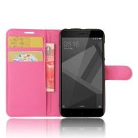 Чехол портмоне подставка на силиконовой основе с отсеком для карт на магнитной защелке для Xiaomi RedMi 4X Пурпурный