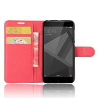 Чехол портмоне подставка на силиконовой основе с отсеком для карт на магнитной защелке для Xiaomi RedMi 4X Красный