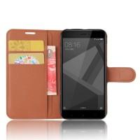 Чехол портмоне подставка на силиконовой основе с отсеком для карт на магнитной защелке для Xiaomi RedMi 4X Коричневый