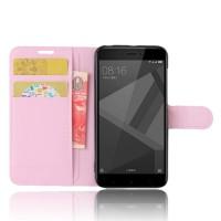 Чехол портмоне подставка на силиконовой основе с отсеком для карт на магнитной защелке для Xiaomi RedMi 4X Розовый