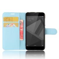 Чехол портмоне подставка на силиконовой основе с отсеком для карт на магнитной защелке для Xiaomi RedMi 4X Голубой