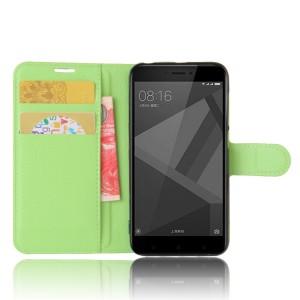 Чехол портмоне подставка на силиконовой основе с отсеком для карт на магнитной защелке для Xiaomi RedMi 4X Зеленый