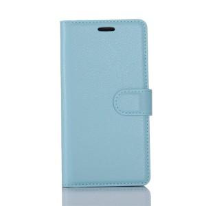 Чехол портмоне подставка на силиконовой основе с отсеком для карт на магнитной защелке для HTC U Play  Голубой