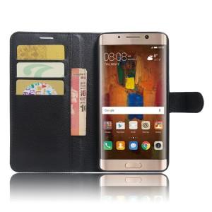 Чехол портмоне подставка на силиконовой основе с отсеком для карт на магнитной защелке для Huawei Mate 9 Pro  Черный