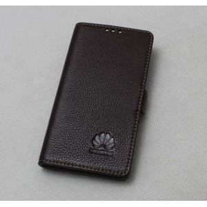 Кожаный чехол горизонтальная книжка с крепежной застежкой для Huawei Mate 9 Pro  Коричневый
