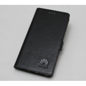 Кожаный чехол горизонтальная книжка с крепежной застежкой для Huawei Mate 9 Pro  Черный
