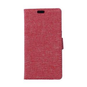 Чехол портмоне подставка на пластиковой основе с отсеком для карт и тканевым покрытием на магнитной защелке для Huawei Mate 9 Pro