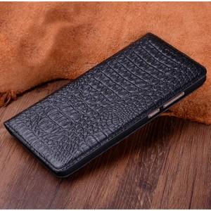 Кожаный чехол горизонтальная книжка (премиум нат. кожа крокодила) для Huawei Mate 9 Pro Черный