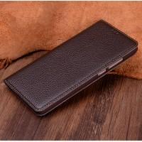 Кожаный чехол горизонтальная книжка (премиум нат. кожа) для Huawei Mate 9 Pro Коричневый