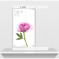 Полноэкранное ультратонкое износоустойчивое сколостойкое олеофобное защитное стекло-пленка для Xiaomi Mi Max  Белый