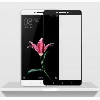 Полноэкранное ультратонкое износоустойчивое сколостойкое олеофобное защитное стекло-пленка для Xiaomi Mi Max  Черный