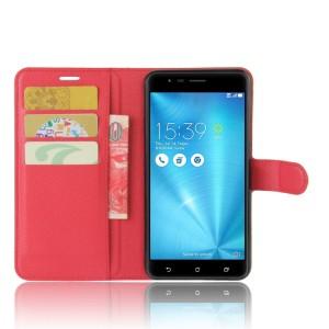 Чехол портмоне подставка на силиконовой основе с отсеком для карт на магнитной защелке для Asus ZenFone 3 Zoom Красный