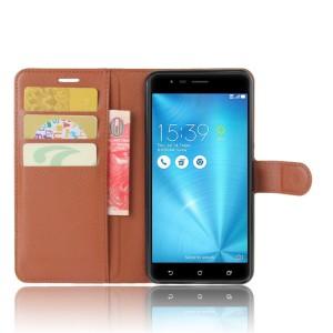 Чехол портмоне подставка на силиконовой основе с отсеком для карт на магнитной защелке для Asus ZenFone 3 Zoom Коричневый
