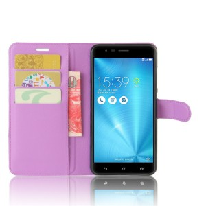 Чехол портмоне подставка на силиконовой основе с отсеком для карт на магнитной защелке для Asus ZenFone 3 Zoom Фиолетовый