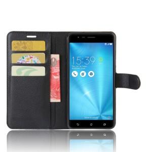 Чехол портмоне подставка на силиконовой основе с отсеком для карт на магнитной защелке для Asus ZenFone 3 Zoom Черный