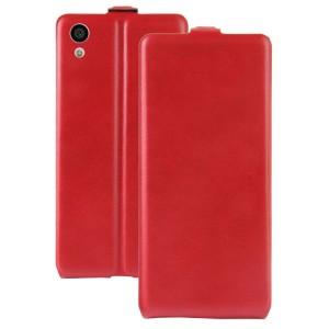 Чехол вертикальная книжка на силиконовой основе с отсеком для карт на магнитной защелке для Sony Xperia XA1 Красный