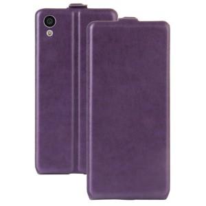 Чехол вертикальная книжка на силиконовой основе с отсеком для карт на магнитной защелке для Sony Xperia XA1 Фиолетовый