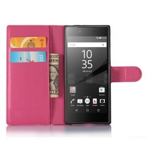 Чехол портмоне подставка на силиконовой основе с отсеком для карт на магнитной защелке для Sony Xperia XA1 Пурпурный