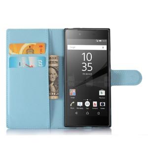 Чехол портмоне подставка на силиконовой основе с отсеком для карт на магнитной защелке для Sony Xperia XA1 Голубой