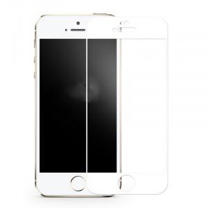 Полноэкранное ультратонкое износоустойчивое сколостойкое олеофобное защитное стекло-пленка для Iphone 5/5s/5c/SE Белый