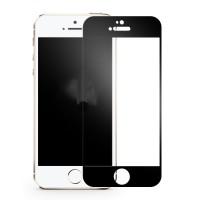 Полноэкранное ультратонкое износоустойчивое сколостойкое олеофобное защитное стекло-пленка для Iphone 5/5s/SE  Черный