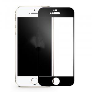 Полноэкранное ультратонкое износоустойчивое сколостойкое олеофобное защитное стекло-пленка для Iphone 5/5s/5c/SE Черный