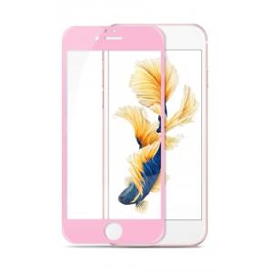 Полноэкранное ультратонкое износоустойчивое сколостойкое олеофобное защитное стекло-пленка для Iphone 6/6s Розовый