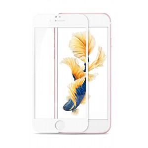 Полноэкранное ультратонкое износоустойчивое сколостойкое олеофобное защитное стекло-пленка для Iphone 6/6s Белый