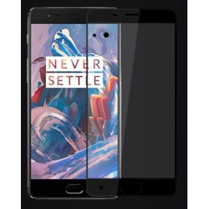 Полноэкранное ультратонкое износоустойчивое сколостойкое олеофобное защитное стекло-пленка для OnePlus 3 Черный