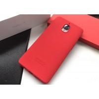 Силиконовый матовый непрозрачный чехол с нескользящим софт-тач покрытием для OnePlus 3  Красный