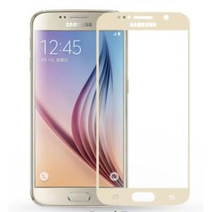 Полноэкранное ультратонкое износоустойчивое сколостойкое олеофобное защитное стекло-пленка для Samsung Galaxy S6 Бежевый