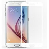 Полноэкранное ультратонкое износоустойчивое сколостойкое олеофобное защитное стекло-пленка для Samsung Galaxy S6 Белый