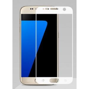 Полноэкранное ультратонкое износоустойчивое сколостойкое олеофобное защитное стекло-пленка для Samsung Galaxy S7  Белый