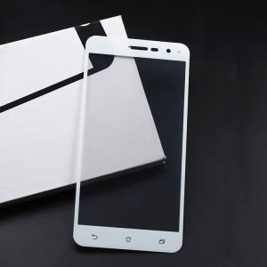 Полноэкранное ультратонкое износоустойчивое сколостойкое олеофобное защитное стекло-пленка для Asus ZenFone 3 5.5 Белый