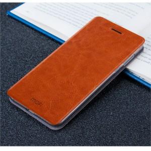 Чехол горизонтальная книжка подставка на силиконовой основе для Meizu M5  Коричневый