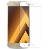 Полноэкранное ультратонкое износоустойчивое сколостойкое олеофобное защитное стекло-пленка для Samsung Galaxy A5 (2017)  Белый