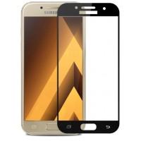 Полноэкранное ультратонкое износоустойчивое сколостойкое олеофобное защитное стекло-пленка для Samsung Galaxy A5 (2017)  Черный