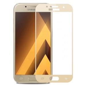Полноэкранное ультратонкое износоустойчивое сколостойкое олеофобное защитное стекло-пленка для Samsung Galaxy A5 (2017) Бежевый