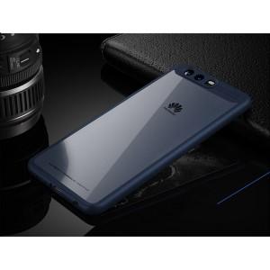Силиконовый матовый полупрозрачный чехол с транспарентной крышкой для Huawei P10