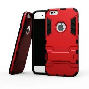 Противоударный двухкомпонентный силиконовый матовый непрозрачный чехол с поликарбонатными вставками экстрим защиты с встроенной ножкой-подставкой для Iphone 5/5s/SE Красный