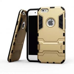 Противоударный двухкомпонентный силиконовый матовый непрозрачный чехол с поликарбонатными вставками экстрим защиты с встроенной ножкой-подставкой для Iphone 6/6s Бежевый