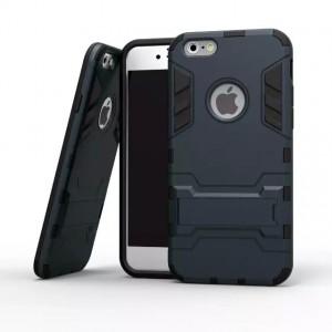 Противоударный двухкомпонентный силиконовый матовый непрозрачный чехол с поликарбонатными вставками экстрим защиты с встроенной ножкой-подставкой для Iphone 5/5s/SE Синий